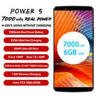 "LEAGOO Power 5 Smartphone 5.99 ""FHD + 18:9 RAM 6GB ROM 64GB Android 8.1 MT6763 Octa Core 7000mah double arrière cames 4G téléphone portable"