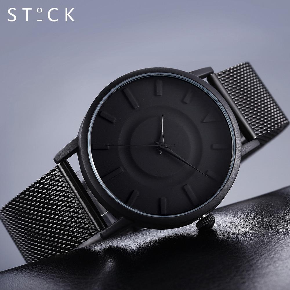 clock men STOCK Stainless Steel Silver Quartz Wrist Watches Mesh Relogio masculino Ladies Watch reloj hombre 2017 men's watch
