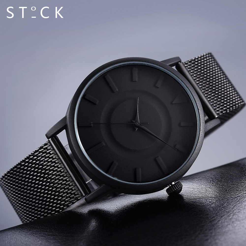 clock men STOCK Stainless Steel Silver Quartz Wrist Watches Mesh Relogio masculino Ladies Watch reloj hombre 2017 men's watch