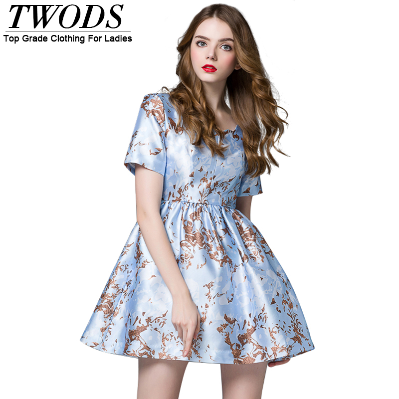 13cde6753b8d Twods New Look Women Pleated Skater Dress With Pockets Elegant Light Blue  Female Short Sleeve Wave Neckline Mini Summer Dress-in Dresses from Women s  ...
