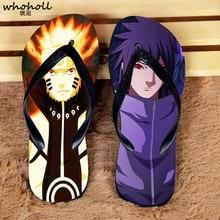 купить WHOHOLL Summer Beach Slippers Men Naruto Anime Cartoon Print Flip-Flops Flat Sandals Shoes for Men Beach Sandals Man Outdoor по цене 632.9 рублей