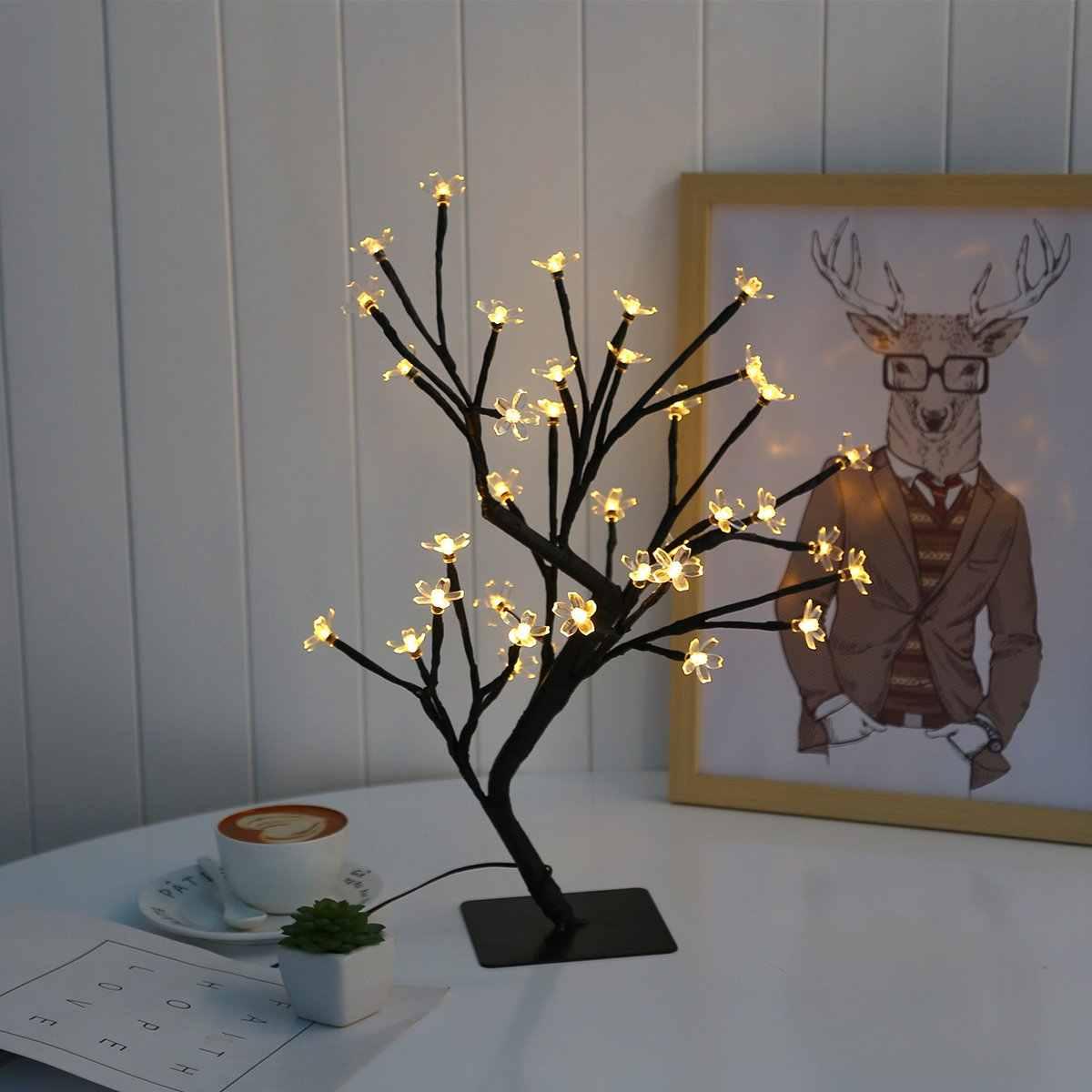 18 Inch Cherry Blossom Bonsai Tree 48 Led Lights Warm White Lights Ideal As Night Lights Home Gift Idea Night Lights Aliexpress