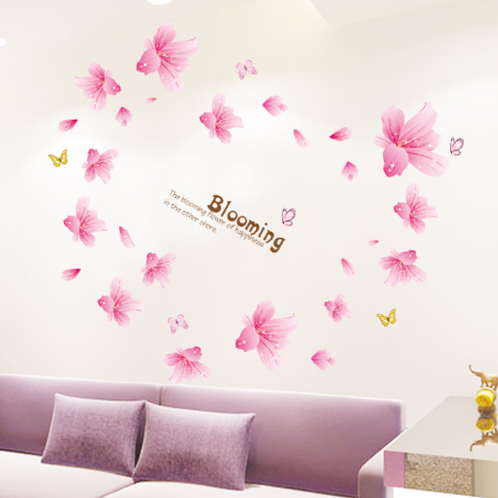 Blooming Red Lilies 3D Warm Romantic Flesh Flower Wall Stickers Living Room Home Decor paster Mural Decal