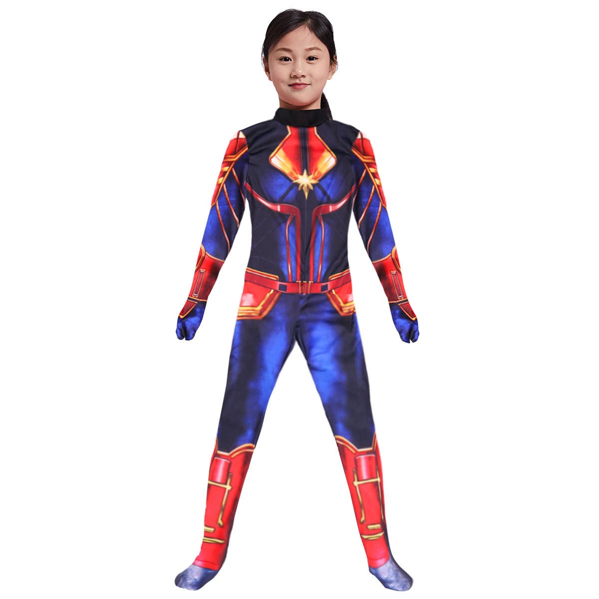 Captain Marvel  Jumpsuits Costumes Girls Halloween Costume for Kids Super Girl Cosplay Bodysuit Party Carnival Rompers Costume