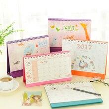 2017 Desktop Calendar Cute Girls Cartoon Flower Covers Desktop Calendar Planner Agenda(China (Mainland))
