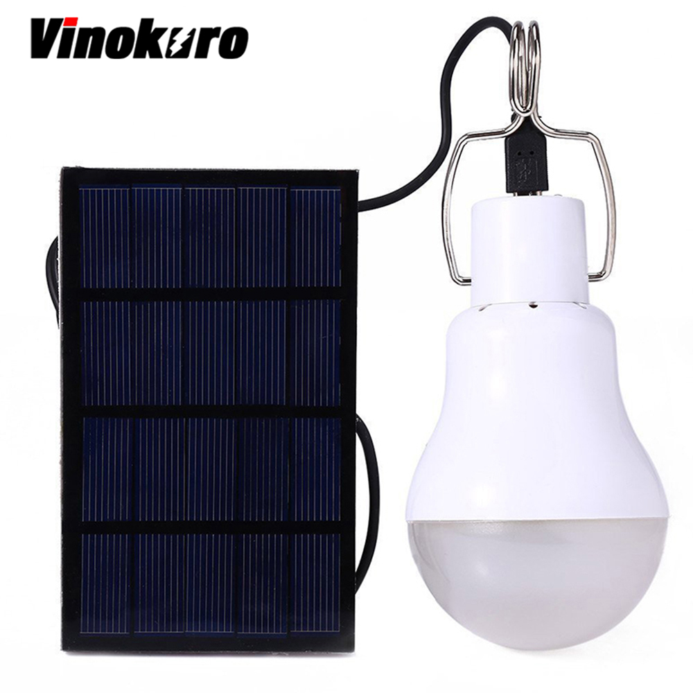 Vinokuro Useful Energy Conservation 15W 130LM Portable Led Tent Bulb Light Charged Solar Energy Lamp Home Outdoor Lighting Panel ...