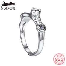 Купить с кэшбэком Silvercute Solid 925 Ring Topaz Cat Fine Jewelry Gemstone Engagement Jewellery Natural Sterling Silver Rings For Women SCR6025B