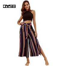 2018 new spring summer stripes wide leg pants for women girl fashionable holiday style irregular cool long pants with belt 80666