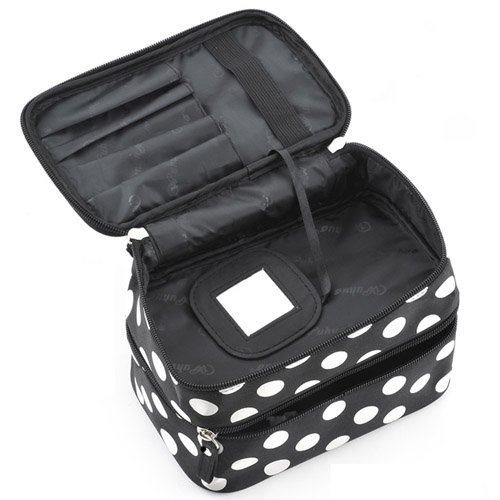 NEW Black Travel Cosmetics Make Up Bags Beauty Womens Organiser Toiletry Purse Handbag Polka Dots Design Gift