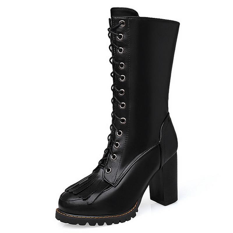 47 Mode Gland Martin noir Rond Mi Talons jaune Boot Taille Chaussures Carré Talon Femmes Beige Bout Bottes Femme Up Dentelle 30 mollet Nouvelle vxHwqnz5