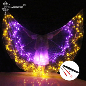 Image 3 - Belly Dance LED Wings Colorful LED Dance Props Newest LED ISIS Wings Adults Belly Dance Professional Accessory With Sticks