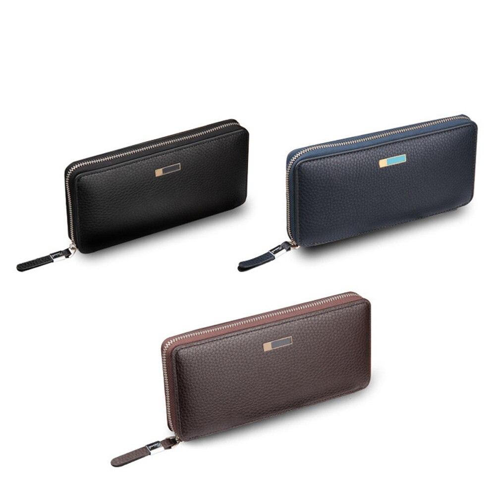 Для мужчин длинный кошелек одноцветное Цвет из искусственной кожи Модная Корейская держателя карты на молнии клатч мешок денег человек Пов...