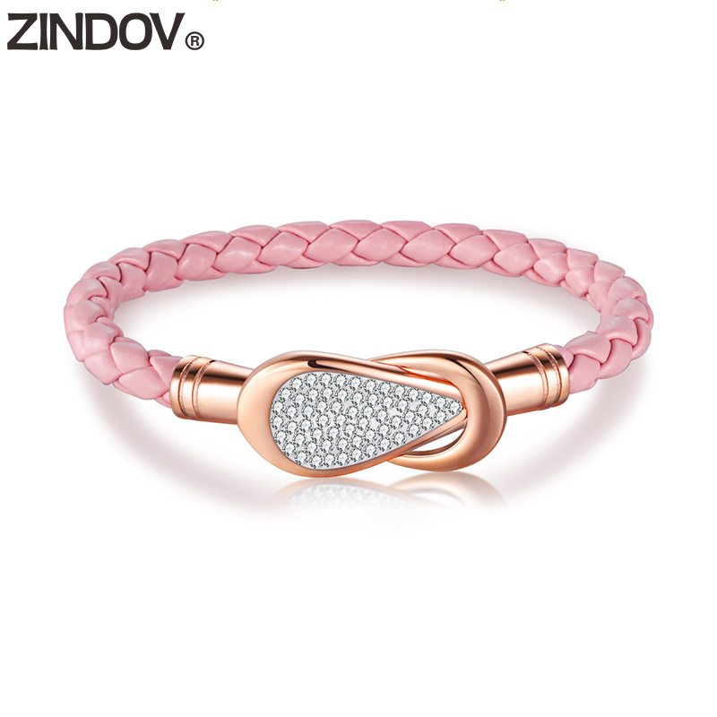 633.67руб. |Женский кожаный браслет ZINDOV, розовый, черный, белый, синий, розовый, золотистый браслет из нержавеющей стали|Оборачивающиеся браслеты| |  - AliExpress