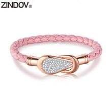 Женский кожаный браслет zindov из нержавеющей стали розовый