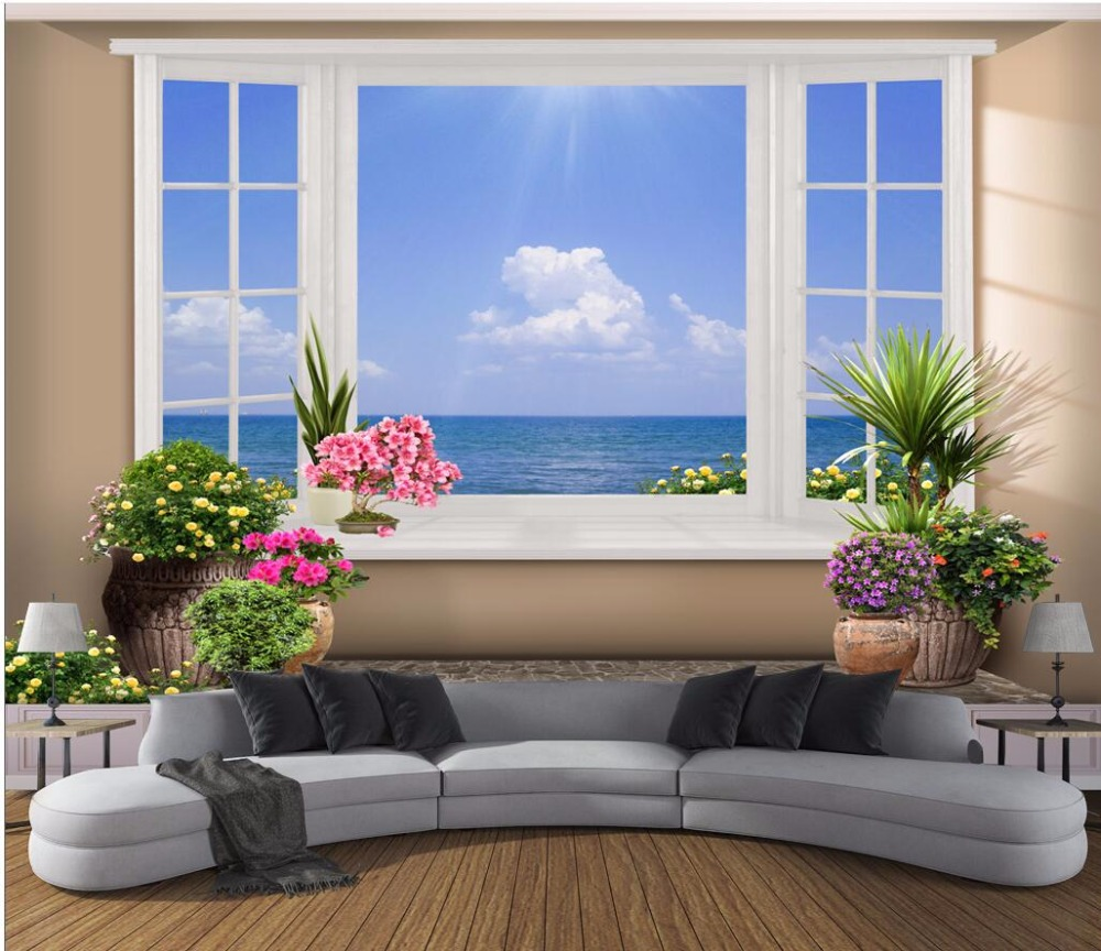 Custom mural 3d photo wallpaper view of the sea outside the window room decor painting 3d wall murals wallpaper for walls 3 d 3d wall murals wallpaper for living room walls 3 d photo wallpaper sun water falls home decor picture custom mural painting