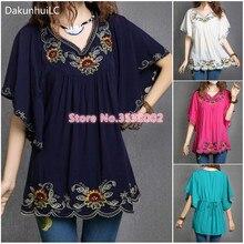 Gran oferta, Tops de algodón para mujer, blusa, Túnica, Vestidos Vintage bordado floral étnico mexicano, Mini Vestidos sueltos, vestido Casual bohemio