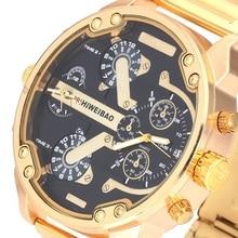 La Más Nueva Manera Shiweibao hombres Relojes de Moda de Oro de Lujo De Acero Inoxidable de Cuarzo Analógico Muñeca Del Deporte