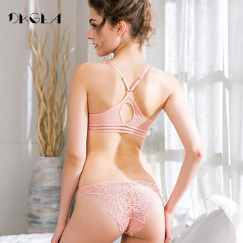 Europe Sexy Pink Ultrathin Embroidery Bra and Pantie Set