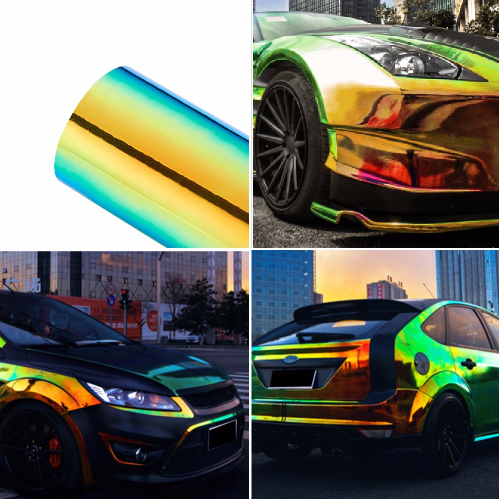 135 20CM Car Stickers Color Change Chrome Vinyl Film Laser Plating Car Wrap Sticker Decal Air Release Film