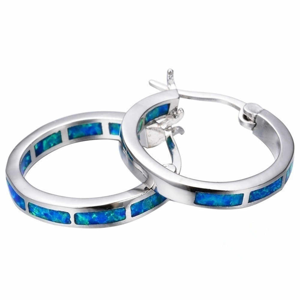 עגול כחול אש אופל עגילי כסף מלא לנשים תכשיטים זוגי עגילי כחול ירוק לבן פשוט קשת עגילים