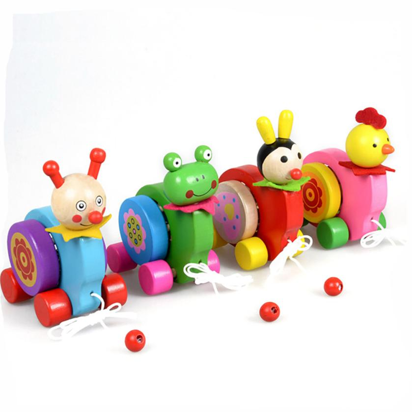 Wooden Cartoon Animal Beats drum Creative Educational Toy Game Car for kids Y922