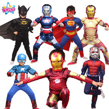 Gratis fragt Boys Muscle suit Super Hero Captain America Kostume SpiderMan Batman Hulk Avengers Kostumer Cosplay for Kids