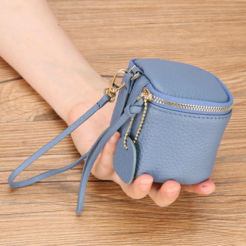 Креативный цилиндрический женский кошелек для монет наивысшего качества, настоящий кожаный чехол для помады, Ювелирная сумка, кошелек с ремешком на запястье для женщин