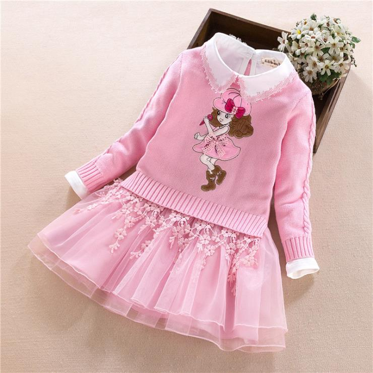 Europe and the United States 2018 autumn The new Parent-child outfit Long sleeve cartoon Knitting sweater + dress Girls suit Europe and the United States 2018 autumn The new Parent-child outfit Long sleeve cartoon Knitting sweater + dress Girls suit