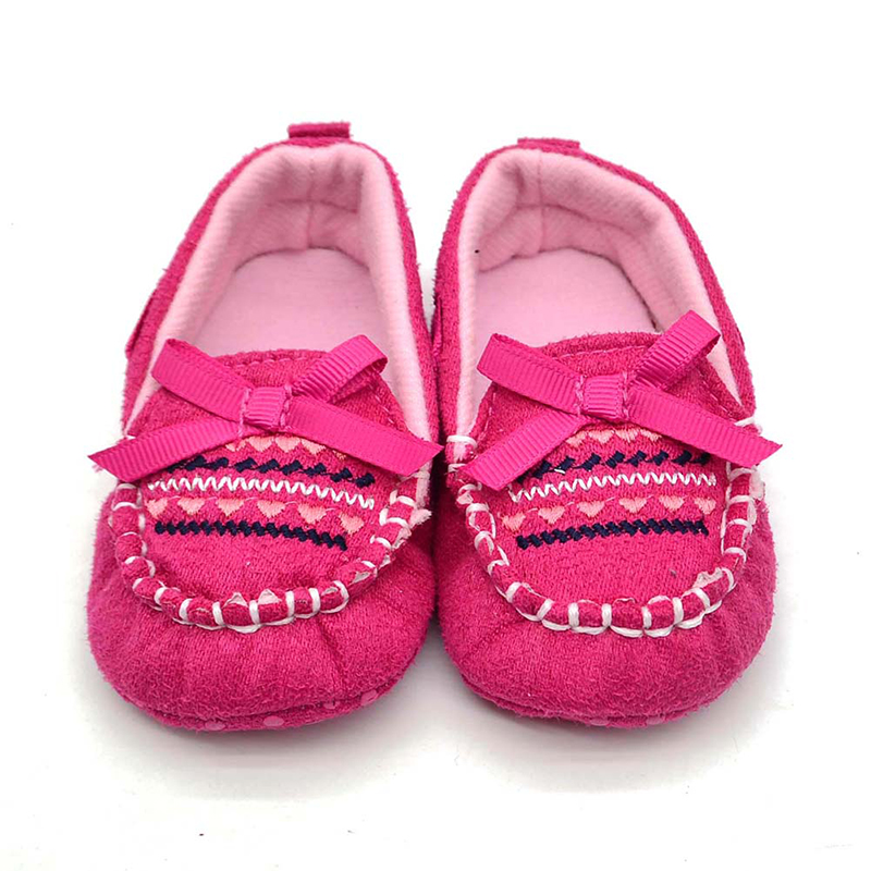 Fashion Baby Girls Sneakers Newborn Infant Loafers Brown With Pink