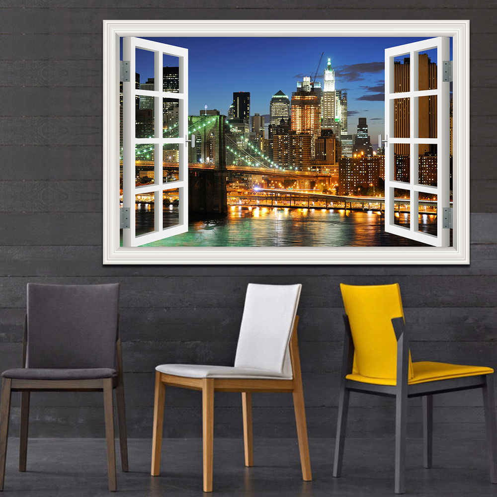 New York Brooklyn Magnificent Night View High Quality 3D Wall Sticker Removerable Landscape Window View Wall Art Home Decor