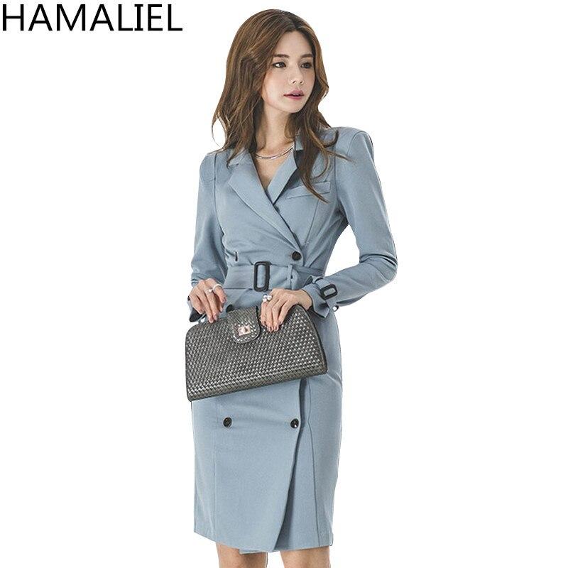 HAMALIEL Korean Women Double Breasted Pencil Work Dress Autumn Winter Blue Formal Turn Down Collar Sheath Bodycon Office Dress