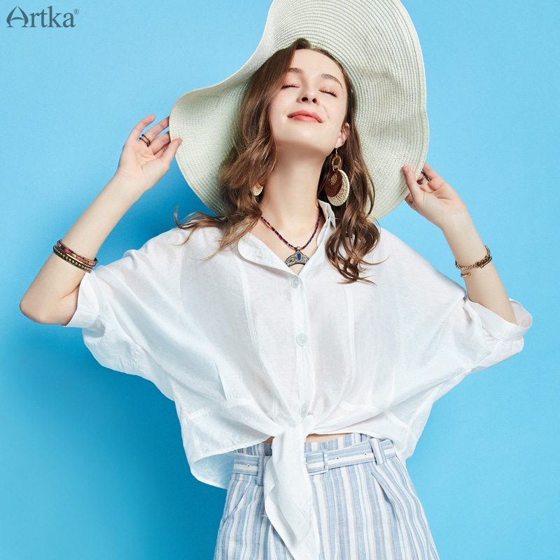 ARTKA 2019 Summer Women White Shirt Fashion Casual Special Design Loose Short Shirt Turn down Collar