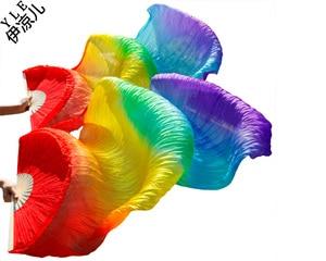 Image 2 - 2016 Hot sale women 100% real silk belly dance fan veils of belly dance fans rainbow color 180*90cm
