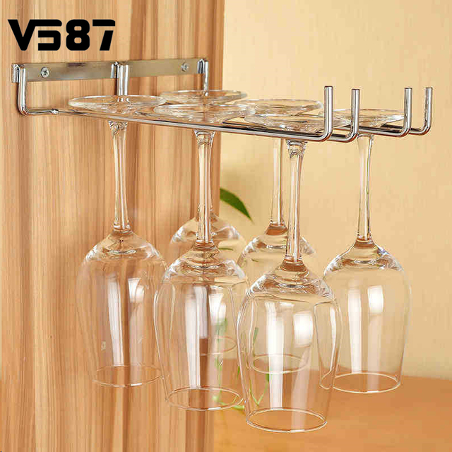 Wine Glass Cup Holder Hanging Drinking Glasses Champagne Stemware Rack  Kitchen Bar Wall Cabinet Storage Organizer