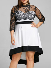 Plus Size 5XL 4XL Floral Lace Sheer High Low Dress Women Vintage Night Party Dress Big Size