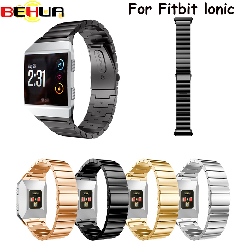 все цены на For Fitbit Ionic Watch Band Stainless Steel Metal Watch Strap Unique Polishing Process Business Replacement Wristband watchband