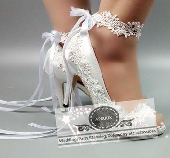 Satin ribbons white laces wedding shoes bride sexy open peep toes 10cm HS297 super high heels platforms bridal party pumps shoe