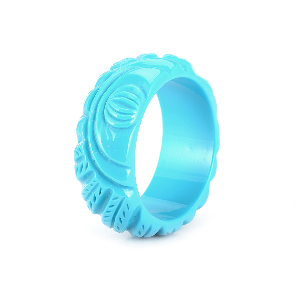 GuanLong Engros Klassisk Gravering Carved Wide Resin Bangle Armbånd For Women Gaver Bijoux 8 Colors