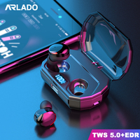 Arlado R10 TWS Bluetooth Earbuds Touch Control Wireless Headset IPX6 Waterproof Earphone with LCD Screen Charging Case 2000mAh