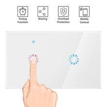 USWorking с Amazon Alexa Google домашней сети Wi-Fi GlaAss Панель интеллектуальному мобильному управления через нас light Touch wall switch2gang1wayERUIKLINK