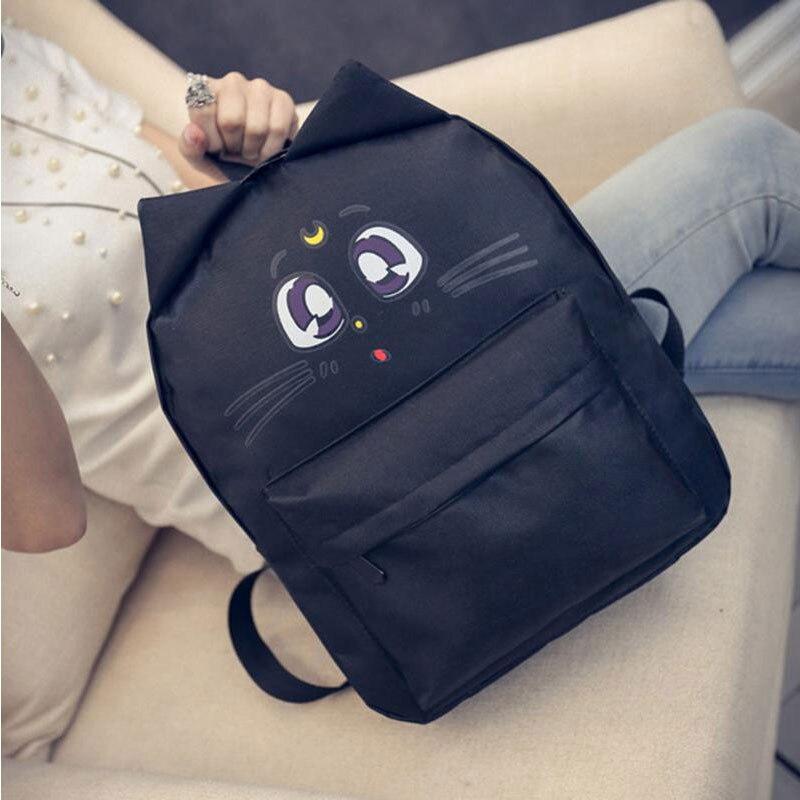 Прекрасный кот 3D хлопок рюкзак школьный холст большой Ёмкость с милыми ушками ранцы для девочек-подростков
