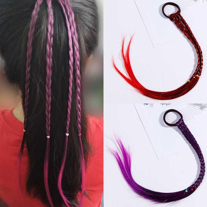 Для женщин Девушка волос веревки градиент Цвет твист оплетки парик хвост держатель резинкой