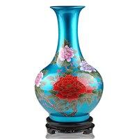 Jingdezhen ceramics glaze blue crystal vase blossoming vase with modern fashion decoration room decoration