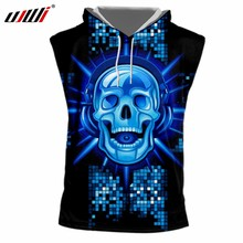 UJWI New Funny Blue Glitter Hooded Tank Top 3D Printed Man Hip Hop DJ  Skulls Best Selling Mens Tee Shirt Wholesale 5c00b8fa34f4