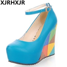 XJRHXJR 2019 big size 33-43 elegant mixed color round toe women pumps fashion platform wedge high heels dating shoes lady karinluna new arrivals big size 31 43 round toe platform women shoes woman elegant spike high heels party office lady pumps