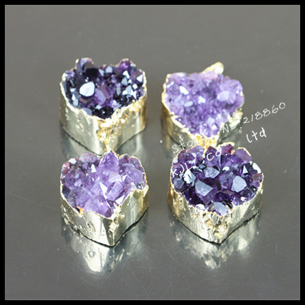 1pcs 2015 fashion natural Amethyst stone pendant 24k gold plated crystal pendant  for necklace/earring jewelry