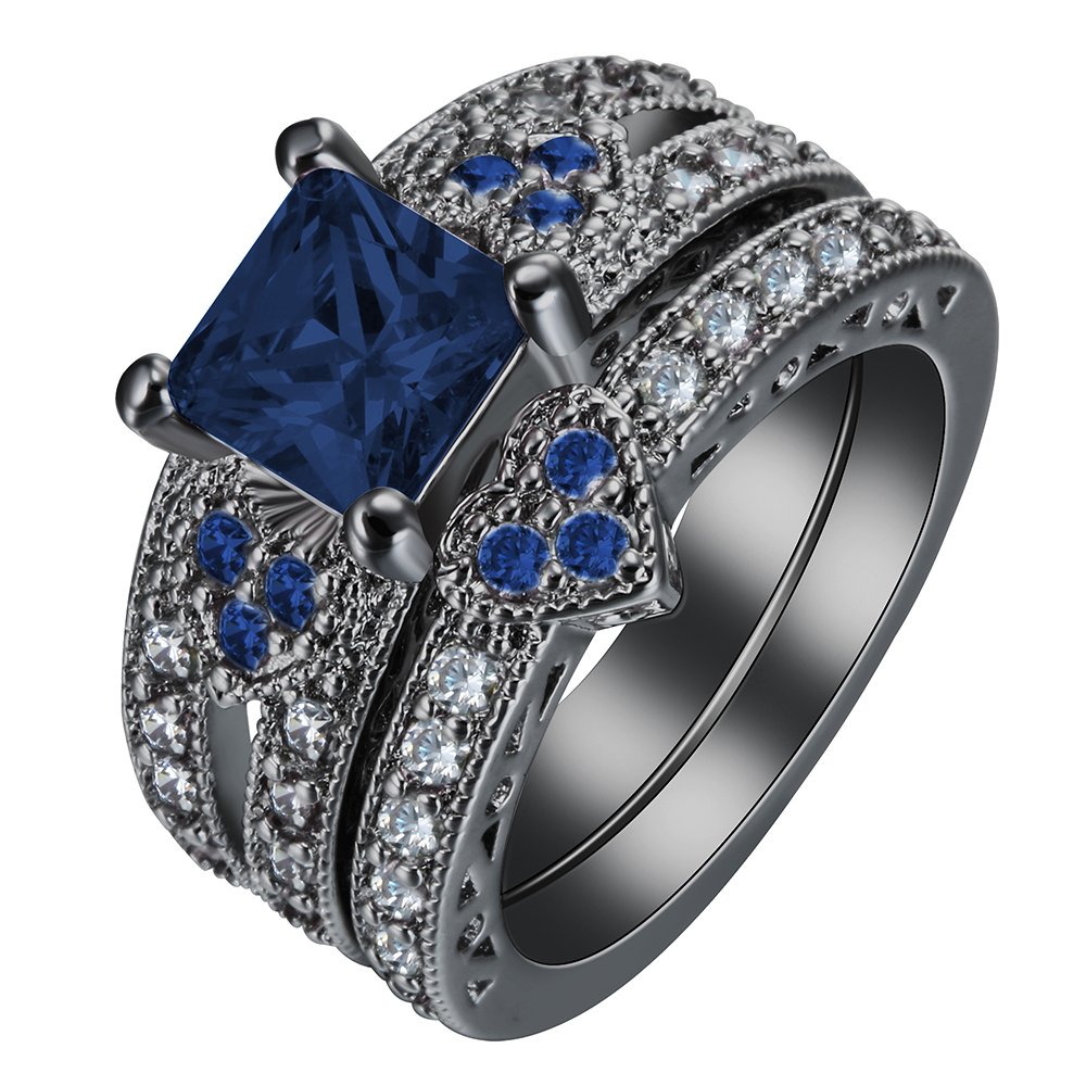 aliexpresscom buy ufooro ring set heart shape black engagement ring micro setting purple royal blue green cz finger vintage love jewelry from reliable - Blue Wedding Ring Set