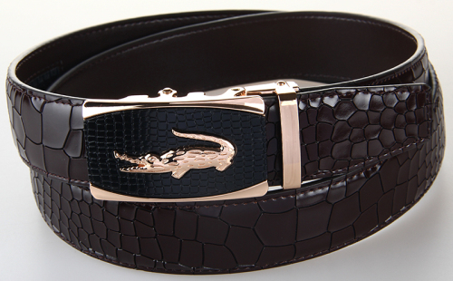 Новое поступление мужской ремень из натуральной кожи повседневный кожаный ремень мужской роскошный фирменный дизайн ремни из воловьей кожи с крокодиловой пряжкой черный ремень - Цвет: 4LM29 Brown