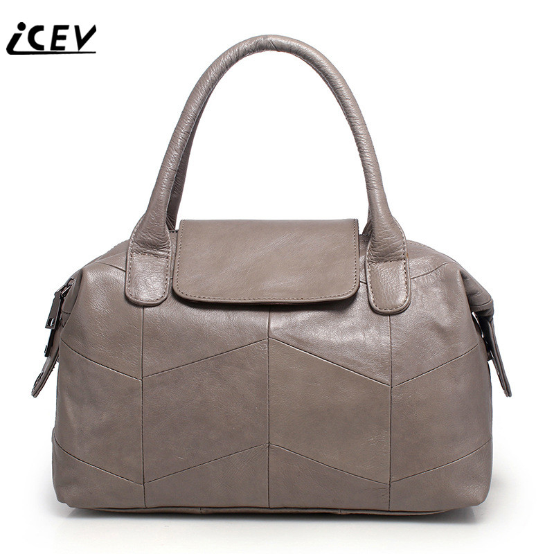 ICEV New Simple Designer Handbags High Quality Cow Leather Women Leather Handbag Genuine Leather Handbags Patchwork Ladies Totes icev new brands simple classic female cow leather designer handbags high quality genuine leather handbags women leather handbags