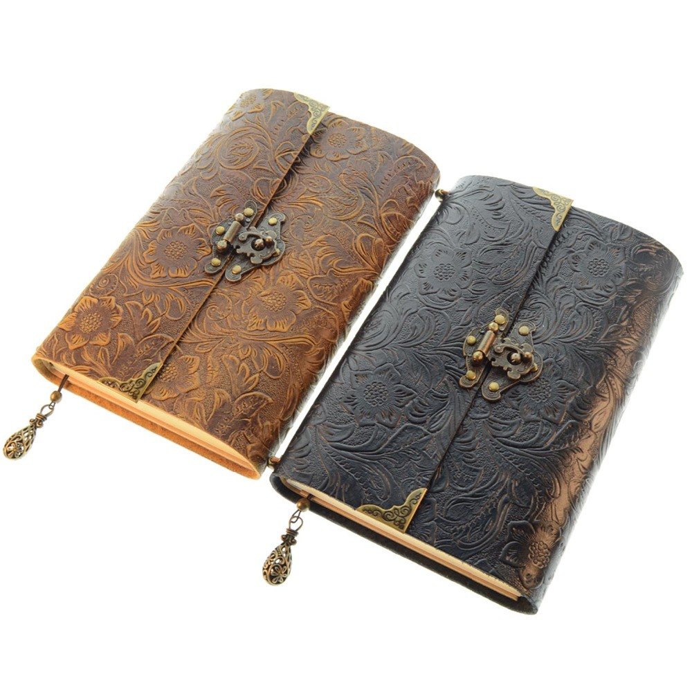 Soft Embossed Pattern Leather Travel Notebook with lock and Key Diary Notepad Kraft Paper